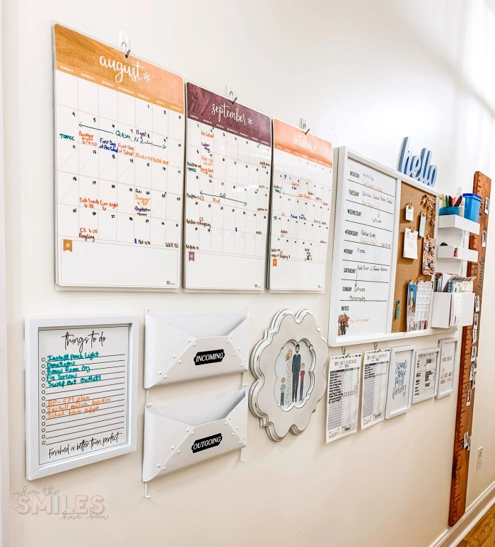 Hallway Family Command | Where The Smiles Have Been #commandcenter #familycommandcenter #home #organization #mealplanning #planner #cleaning #cleaningchecklist #chorechart #calendar #backtoschool #schoolorganization #growthchart