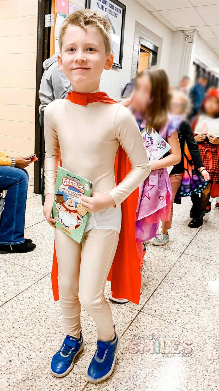 DIY Captain Underpants Costume for Book Character Day or Halloween! | Where The Smiles Have Been #CaptainUnderpants #DIY #costume #DIYcostume #Halloween #HalloweenCostume #BookCharacter #BookCharacterDressUp