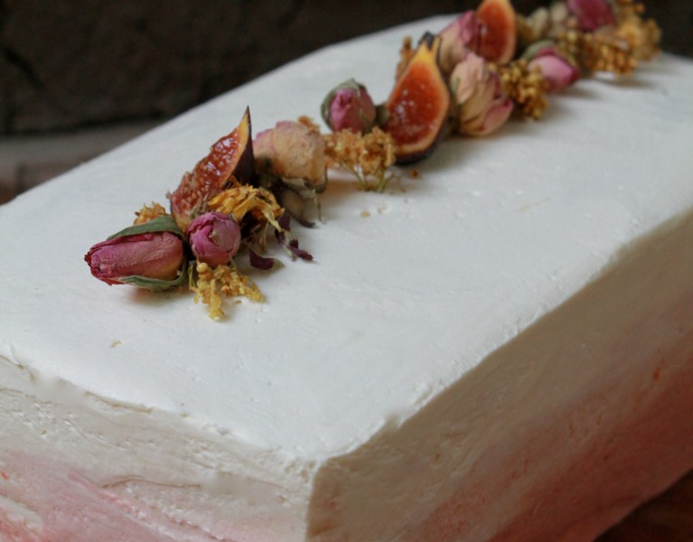Elderberry Cake with Elder-Plum Curd & Italian Buttercream