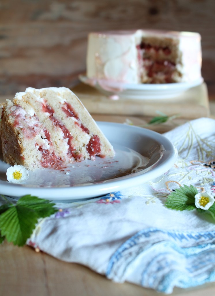 strawberry rhubarb brown butter cake