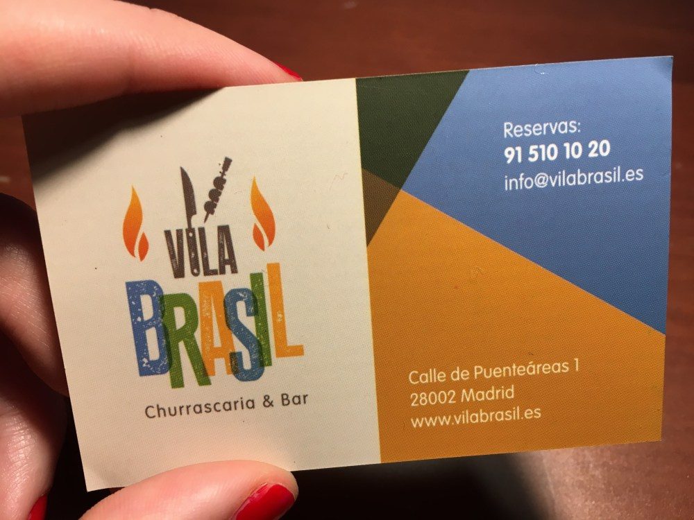 Vila Brasil Rodizio Restaurant in Madrid. Card. Contact information.