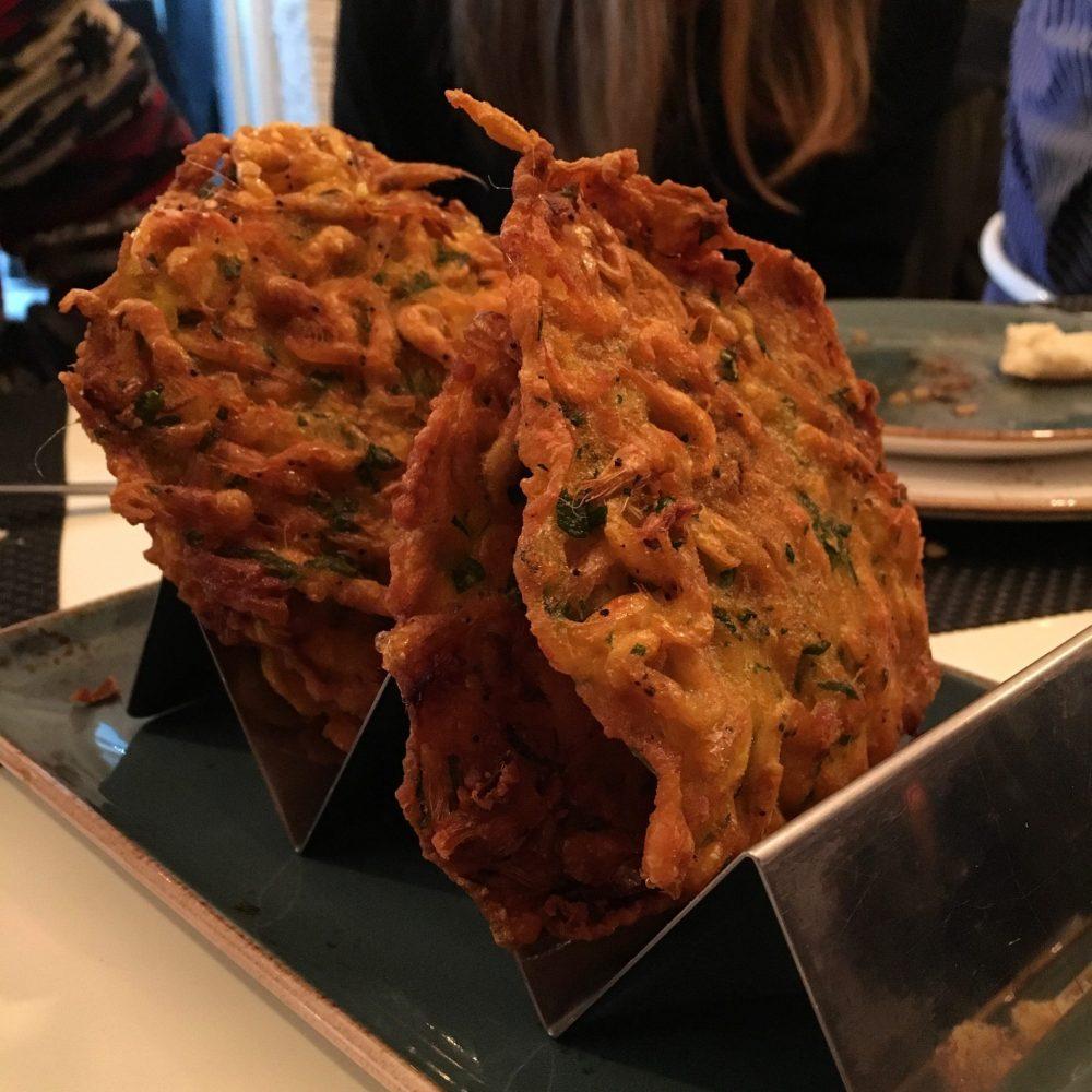 DeAtún Restaurant Madrid. Shrimp fritters / Tortillitas de Camarones.