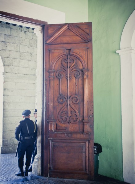 Guards in Doorway Mexico William Woodward