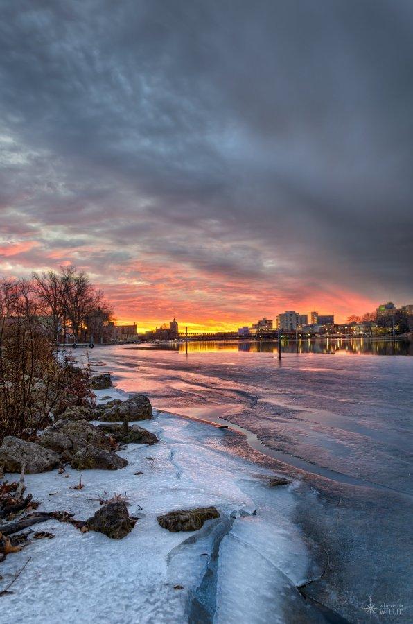 Cracks of Ice Under a Pefect Sunset