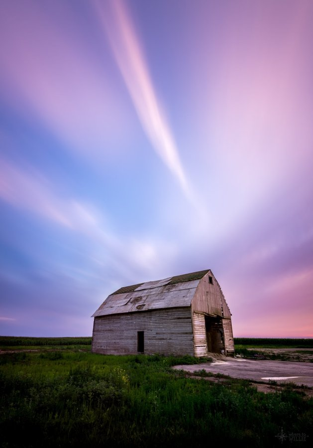 long exposure barn sunset william woodward