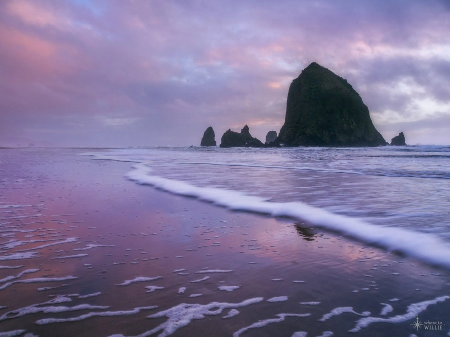 haystack rock cannon beach sunset waves ocean william woodward
