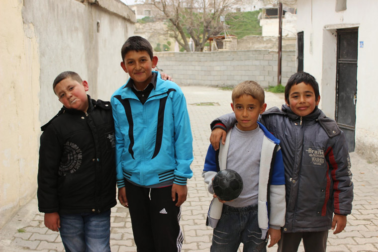 Kids playing football in Ortahisar