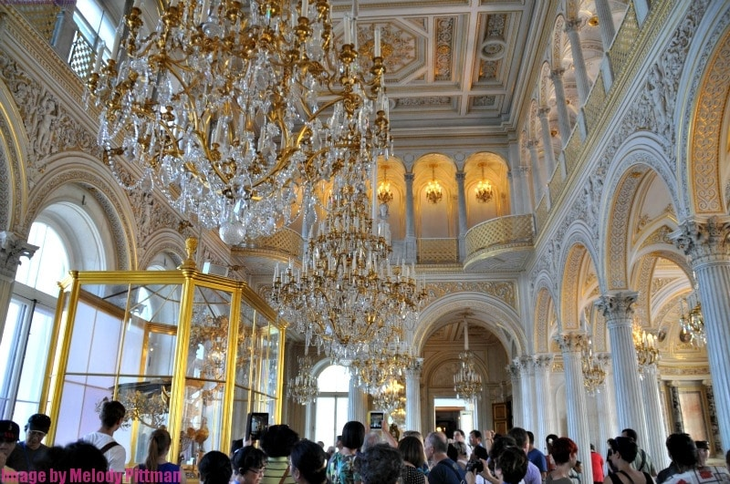 Decorative chandeliers and ceilings at The Hermitage.