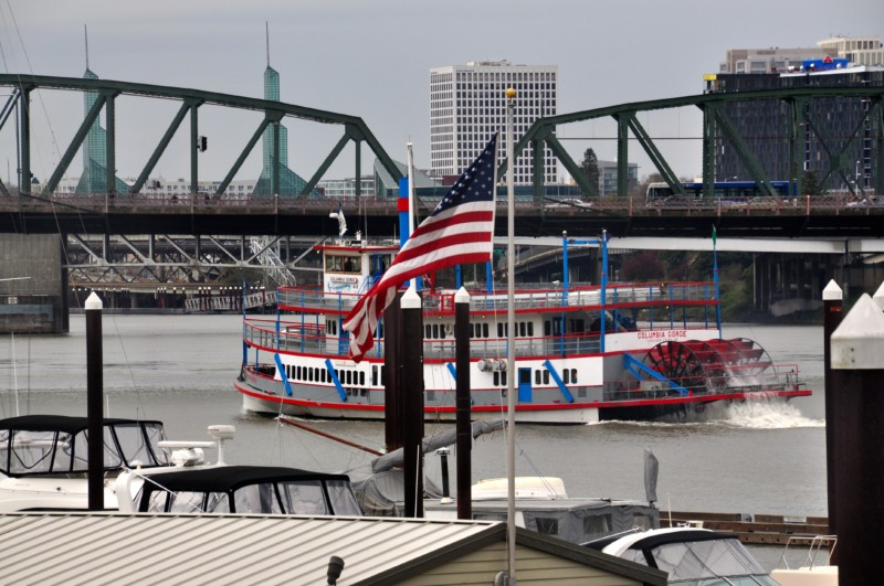 Such a gorgeous view of the riverbank in Portland, Oregon.