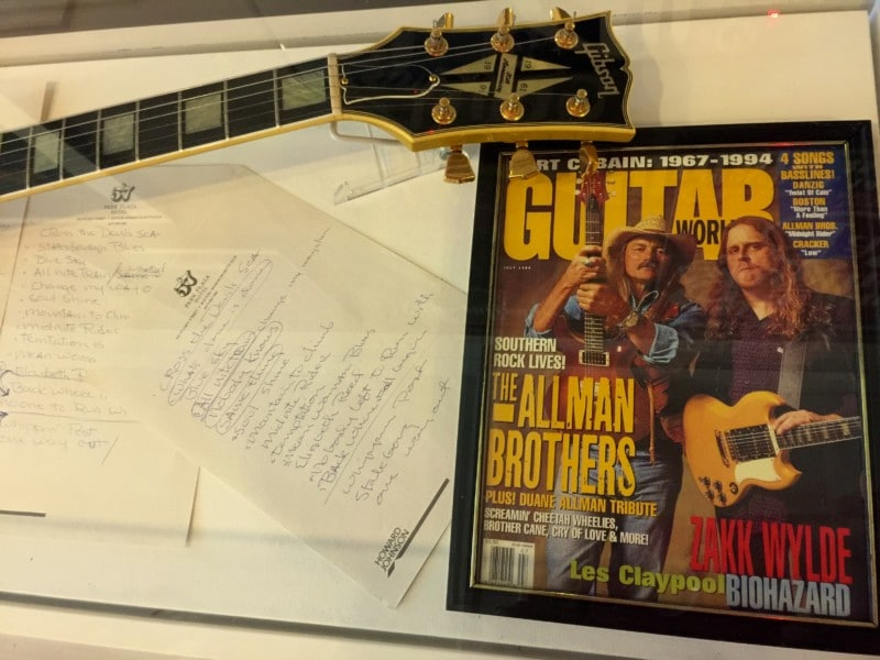 Allman Brothers memorabilia at The Big House in Macon.