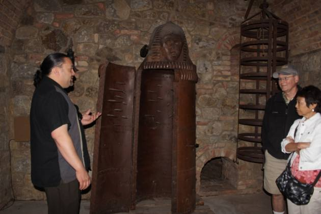 That is an authentic 300-year-old iron maiden bought in Italy