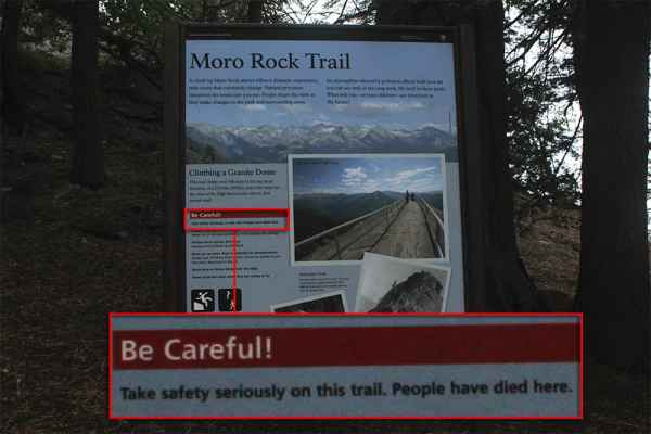 I found a photo Krissa had taken of this warning sign AFTER I had climbed Moro Rock. Had I seen it before, not sure I would've done it...