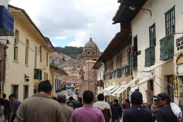Main square in Cusco with Church