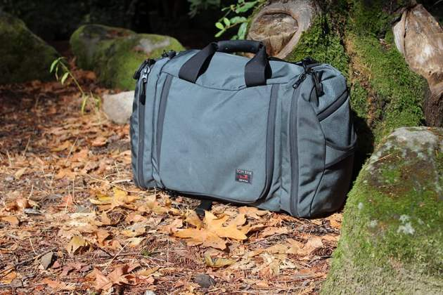 Tom Bihn Aeronaut on the forest floor in California