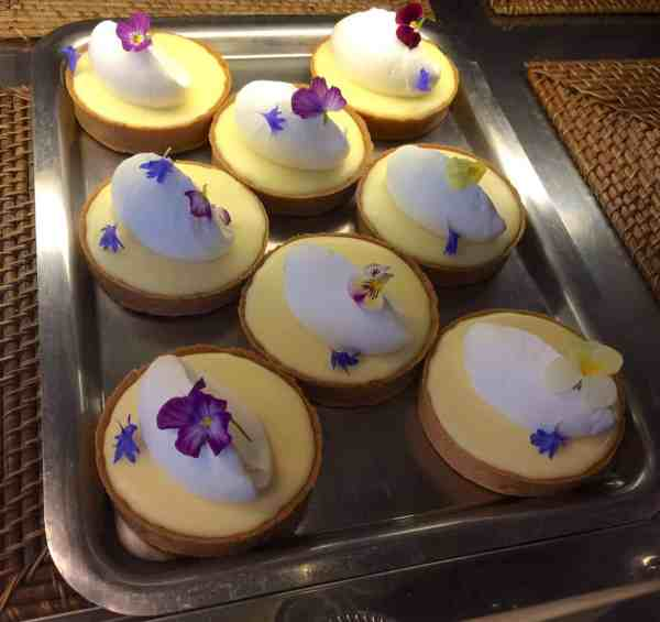 Lemon cream tarts on display at Tartine Bakery