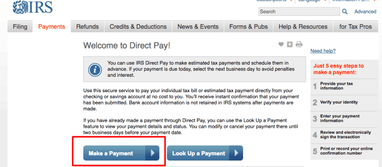 How to pay quarterly estimated taxes online step 1