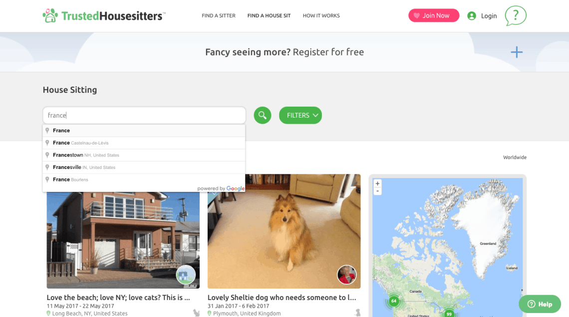 TrustedHousesitters.com Review: How to search for house sits