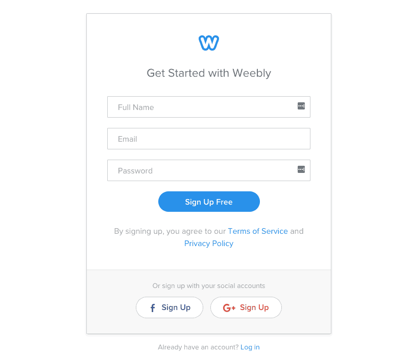 how to build a business website for free - weebly step 1