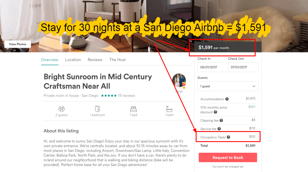 Airbnb tips - 30 days occupancy taxes San Diego