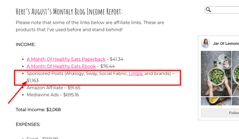 how to monetize a blog - sponsored post income