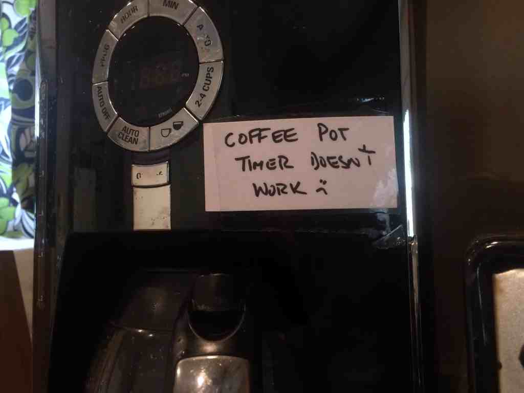 Airbnb host tips - Label left on coffee pot in Airbnb