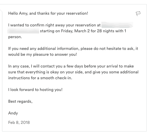 Airbnb host tips - reservation confirmed message