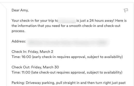 airbnb host tips - 24 hours before arrival message