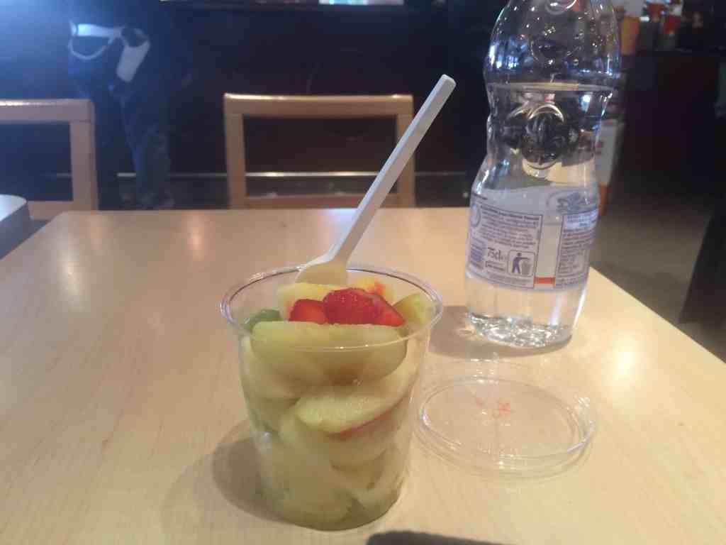 Leonardo Express Airport Train - Inside Momento cafe inside Roma Termini station. Fruit cup
