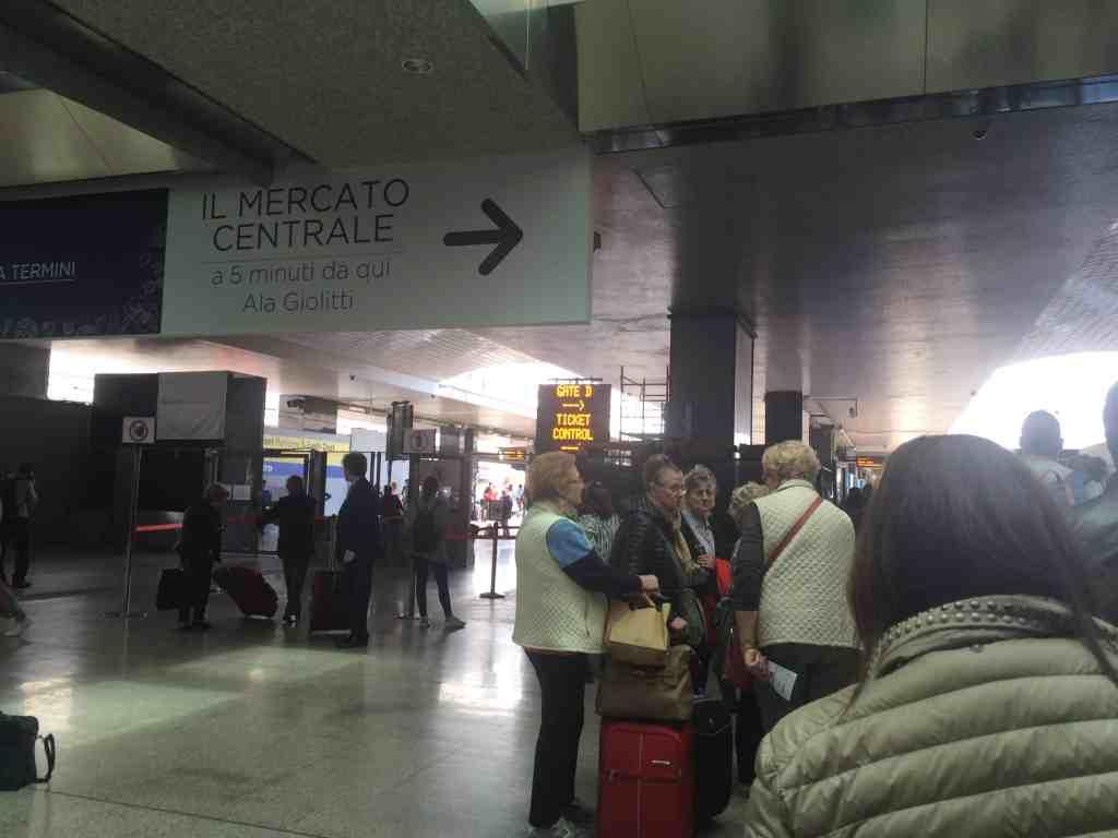 Leonardo Express Airport Train - Inside Momento cafe inside Roma Termini station. Lining up at platform