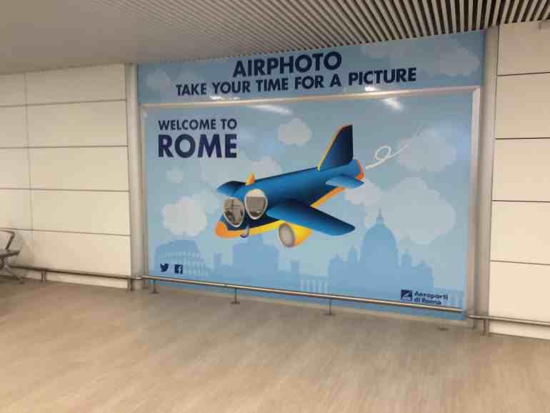 Leonardo Express Airport Train - Welcome to Rome sign