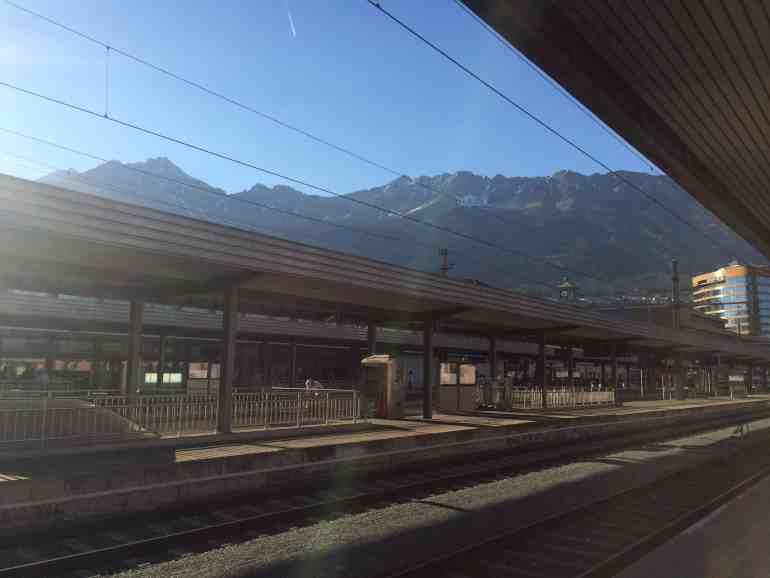 Train from Venice to Salzburg - Innsbruck station