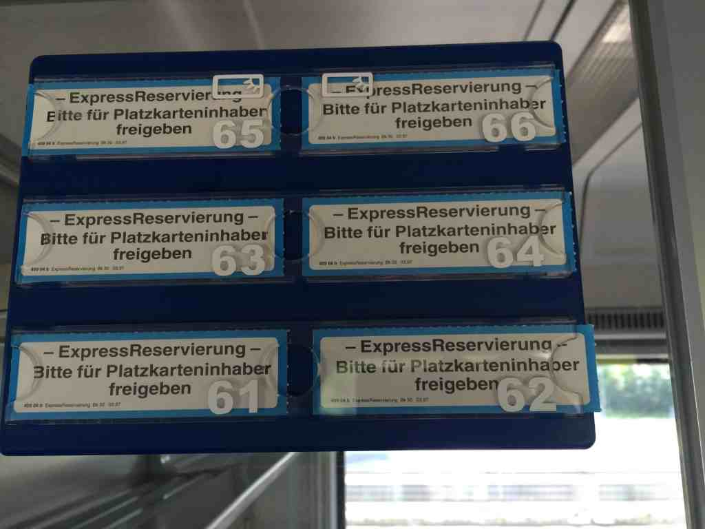 Train from Venice to Salzburg Reservierung Reserved seats