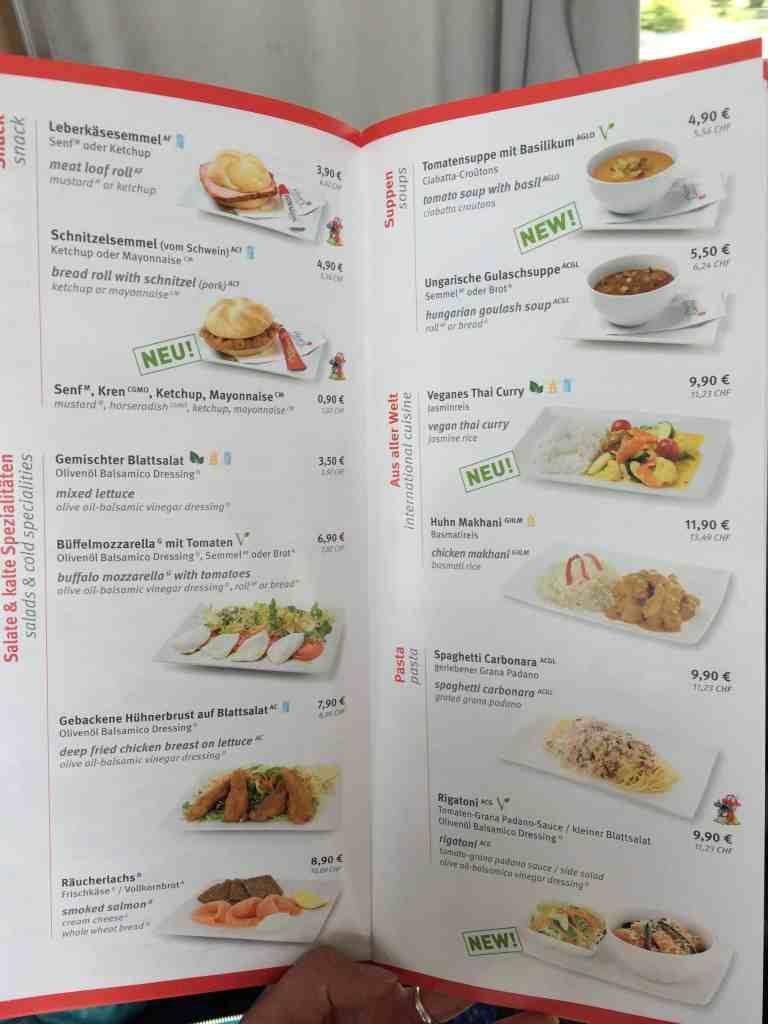 Train from Venice to Salzburg dining cart menu 1