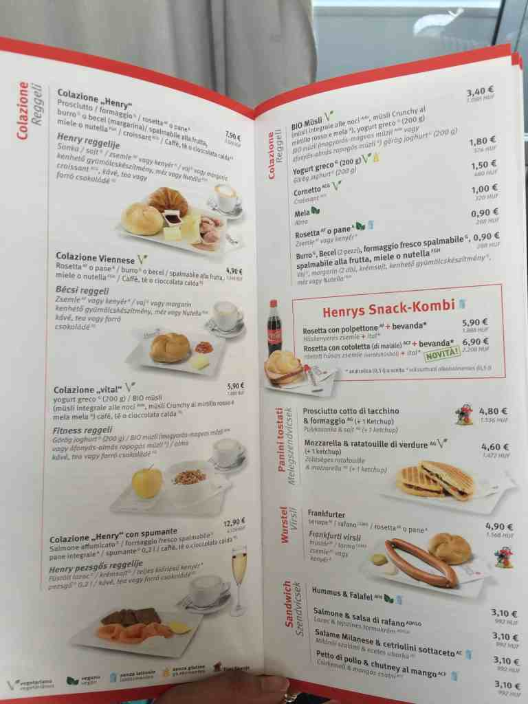 Train from Venice to Salzburg dining cart menu 3