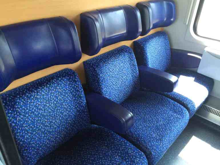 Train from Venice to Salzburg seats in a compartment