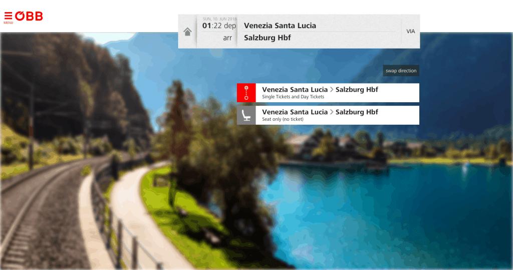 train from venice to salzburg- step 2