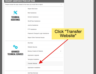 how to transfer website to new host- step 4