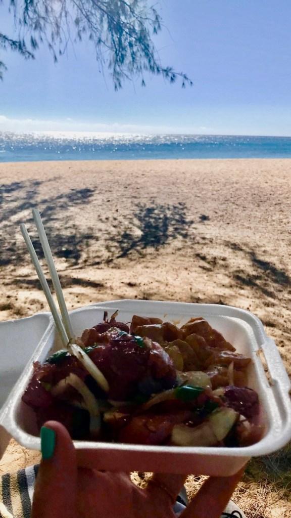 poke lunch at shipwreck's beach, Kauai