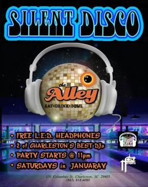 After its popular debut at the Studio 300 Party, The Alley will partner with SilentCity Sounds to offer Silent Disco Nights on Saturdays (starting January 11) at 11:00PM. We will be turning the entire upstairs at The Alley Charleston into a mind blowing Silent Disco event. The party is *FREE* while headphones last. So get there early to join in on the fun.