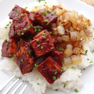 BBQ Tofu with Caramelized Onions