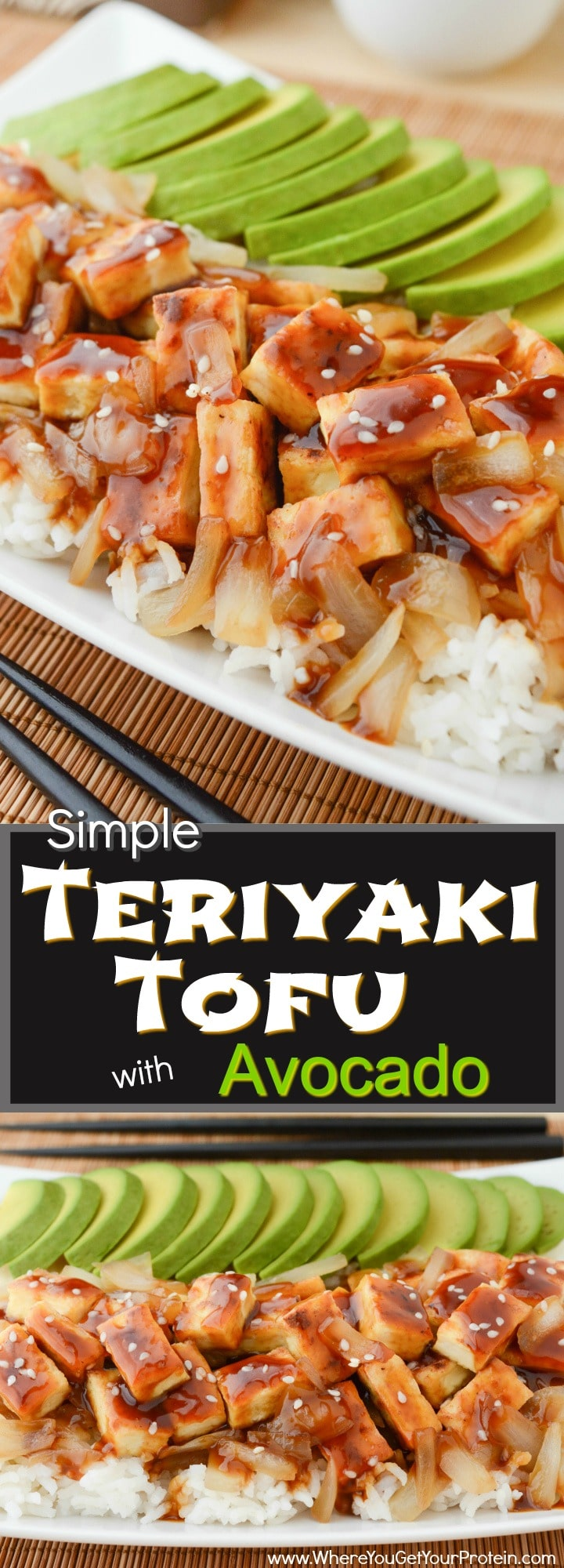 Simple Teriyaki Tofu with Avocado is a quick and easy dinner, or a filling lunch! A soft bed of organic white basmati rice is piled high with caramelized onions and oven baked tofu. It's then drizzled with a salty-sweet teriyaki sauce and topped with a buttery ripe avocado! Vegan & Gluten-free