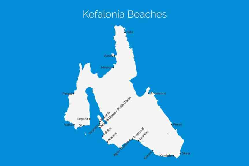 Kefalonia Beach Map