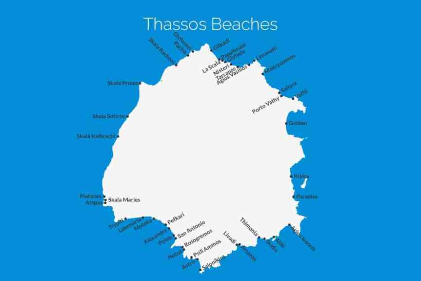 Thassos Beach Map