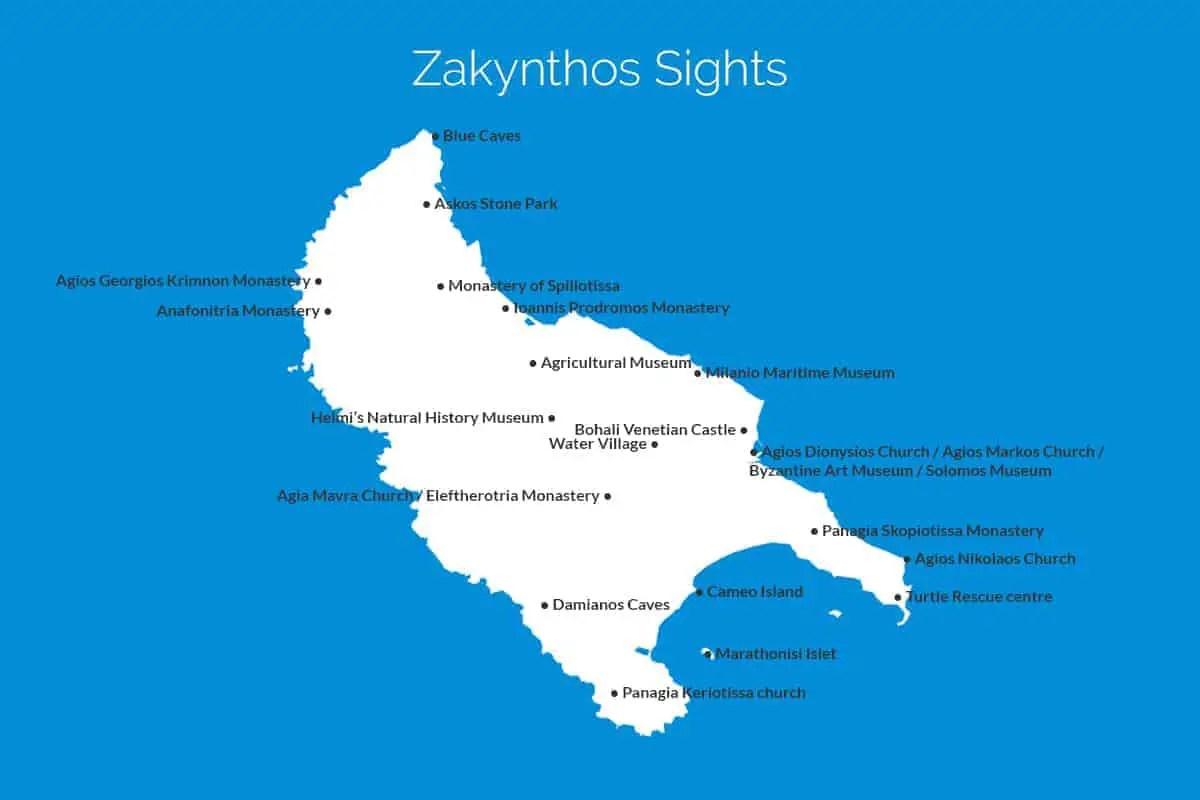 Zakynthos Sights Map