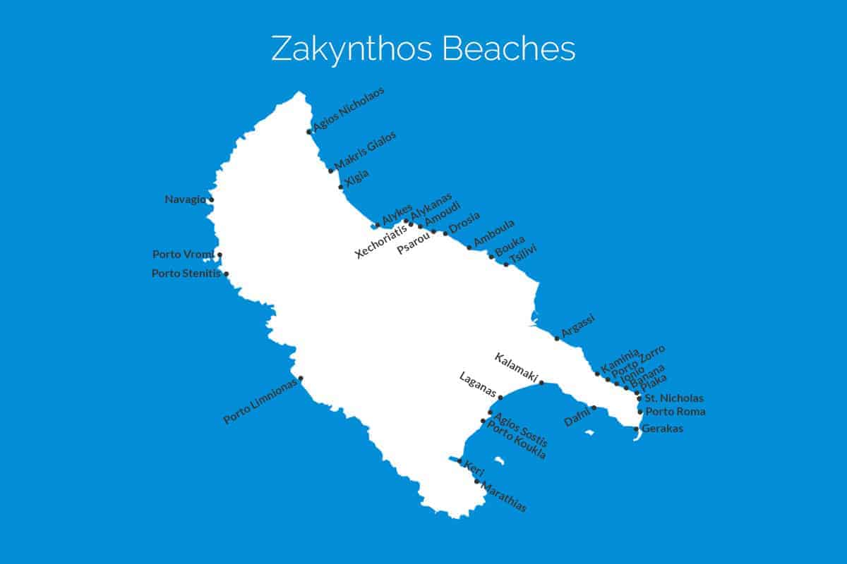 Zakynthos Beach Map