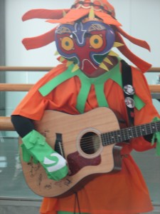 Skull Kid playing guitar