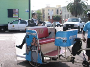 A pedicab outside of the Mission. They are everywhere at Comic Con.