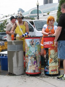 Nami and Ussop take a break from the Straw Hat Crew to hand out drinks on a balmy San Diego day for us Comic Con attendees.