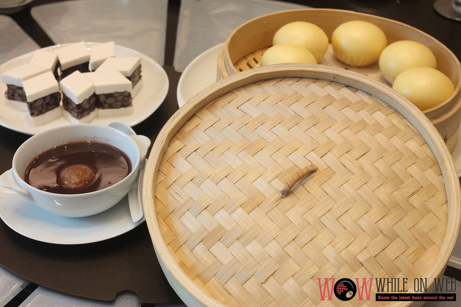 Desserts (L-R) Coconut pudding, Sweeted Red Bean with dumpling, and Custard Bun with Egg Yolk