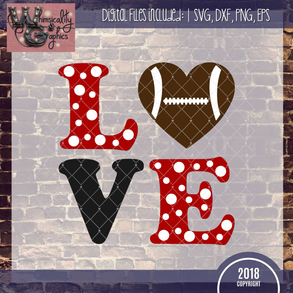 Download LOVE Football SVG, DXF, PNG, EPS